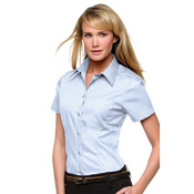 Women's corporate pocket Oxford blouse short sleeved