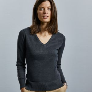 Ladies' V-Neck Knitted Pullover Thumbnail