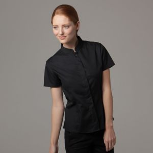 Women's bar shirt mandarin collar short sleeve Thumbnail